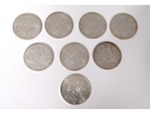 Lot 8 silver coins 100 francs Descartes Charlemagne Human Rights