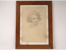 Drawing portrait young man boy Emile Bouneau School of Paris twentieth century