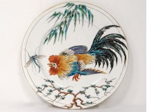 Old Bordeaux Earthenware Plate Big Birds Millet Dragonfly Cock