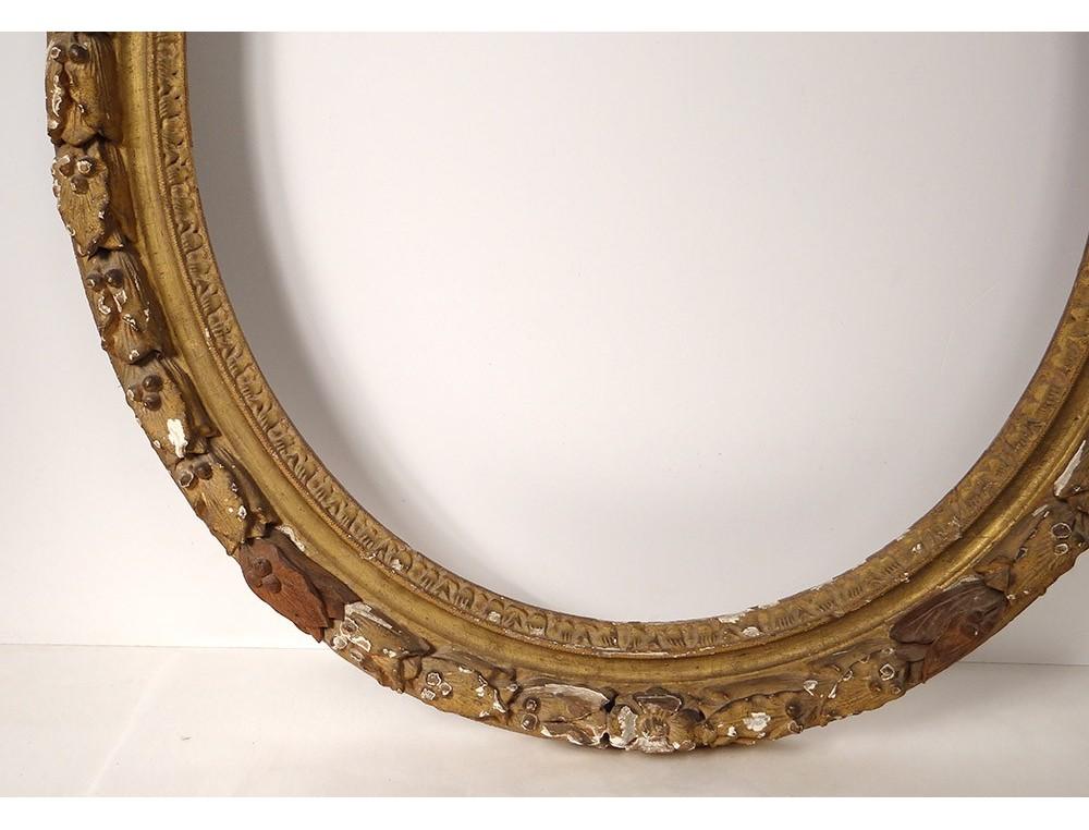 Large oval frame carved wood gilded foliage Regency antique ...