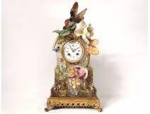 Pendulum barbotine Fontainebleau Théodore Lefront insect bird clock nineteenth