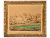 Watercolor landscape Auvers-sur-Oise countryside houses trees signed twentieth century