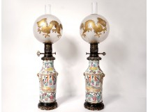 Pair porcelain oil lamps Canton ball crystal Saint-Louis bronze 19th