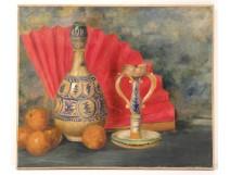 HST table still life vase candle holder fan fruit att. Gaston Roux Twentieth