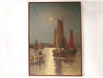 HSP marine painting boats harbor moonlight South France Mediterranean twentieth