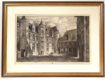 Engraving etching Octave of Rochebrune Palace Jacques Coeur Bourges nineteenth