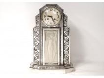 Art Deco clock Hettier & Vincent silver bronze glass woman clock twentieth