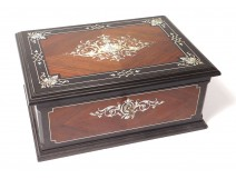 Sormani jewelery box set with rosewood ebony inlay flowers nineteenth