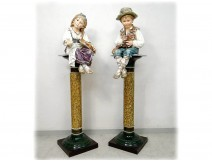 Majolica majolica sculptures Wilhelm Schiller children gypsies Austria 160cm