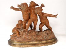 Large sculpture Carrier-Belleuse terracotta Bacchanal putti dancing nineteenth