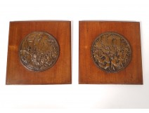 Pair medallions bas-reliefs lead mythology Abduction of Sabines nineteenth