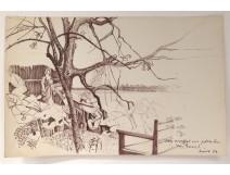 Drawing Ernst Van Leyden landscape lagoon Venice woman Karin 1958 landschap