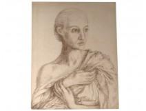 Ernst Van Leyden ink drawing woman portrait Karin Van Leyden portret 1933