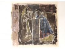 Color lithograph Karin Van Leyden Dream women nude musician 1957