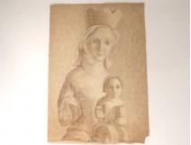 Ink drawing Karin Van Leyden statue Virgin Mary Child Jesus Bible Twentieth