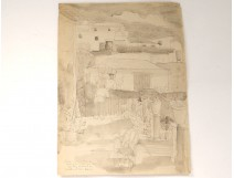 Drawing ink Karin Van leyden terrace Portugal Sintra Palacio Galvao 1931