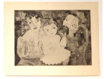 Engraving Karin Van Leyden portrait family jewish parents child twentieth century
