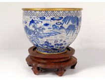 Large cut bronze cloisonné enamels white blue Ming Zhengde China XVI
