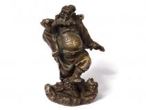Okimono bronze Japan Shoki hunter demon Oni bat Japan Meiji 19th