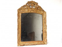Mirror Régence ice carved wood frame gilded shell flowers mirror eighteenth