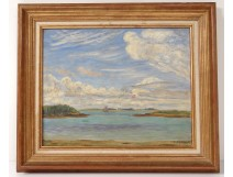 HSP marine painting Jean Frélaut boat sailboat Gulf Morbihan Brittany twentieth