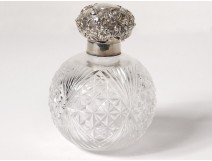 Sterling silver ball perfume bottle english crystal cut diamond twentieth