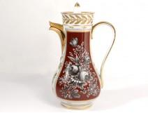 Porcelain coffee pot Paris gilding Napoleon III nineteenth century