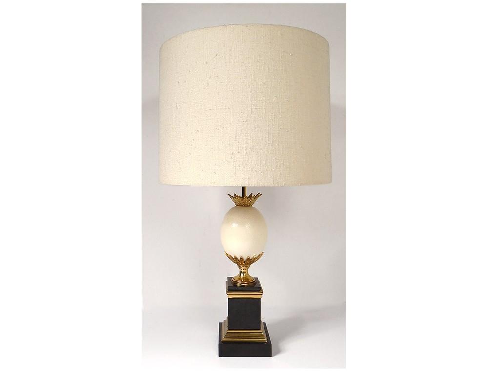 Lampe Maison Charles Oeuf Autruche Bronze Dore Marbre Noir Xxeme Siecle