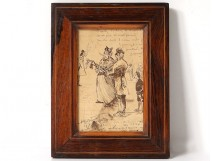 Small drawing ink characters musician violin humor singer Paris 1906