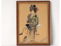 Watercolor drawing portrait Parisian elegant woman Gautré Antonie twentieth
