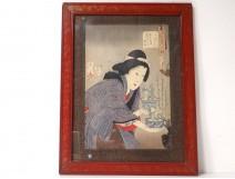 Japanese print Ukiyo-e woman oiran Bonsai cherry signed 19th century