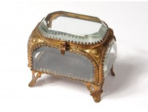 Small box jewelry box glass gilded brass Napoleon III nineteenth century