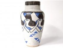 Polychrome sandstone vase HB Quimper Odetta Raymonde Pennaneac'h Breton twentieth