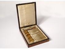 11 teaspoons clamp silver sugar vermeil Minerva box NapIII nineteenth