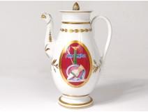 Porcelain coffee pot Paris Paris war Napoleon Empire III helmet