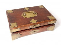 Box box exotic wood brass flowers lily nineteenth century