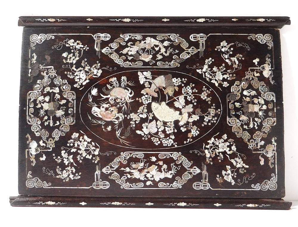 Mother of pearl wooden tray characters women landscape