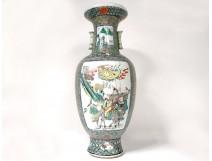 Large porcelain temple vase porcelain China characters flowers 60cm Nineteenth