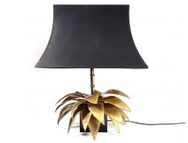 Maison Jansen lamp palm tree foliage bamboo brass vintage 1970 vintage design