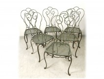 Set 6 wrought iron garden chairs painted 1950 twentieth century