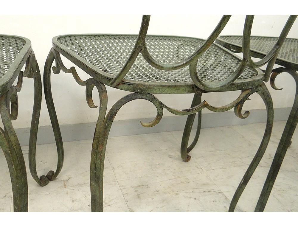 Ensemble de 6 chaises de jardin fer forgé vintage Design du XXe ...