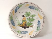 Salad bowl earthenware Nevers character landscape village eighteenth century