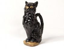Pitcher zoomorphic barbotine Saint-Clément black cat twentieth century