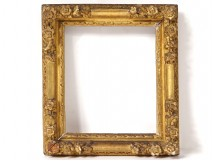Regency small frame carved wood gilded flowers antique eighteenth century frame