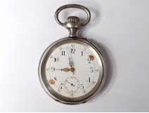 Large sterling silver pocket watch Spiral Breguet watch late nineteenth