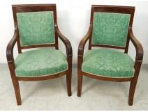 Pair armchairs seats Empire mahogany palmettes armchairs nineteenth century
