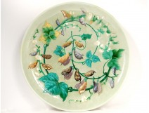 Large enamelled ceramic dish Theodore Deck flowers bindweed 61cm Nineteenth