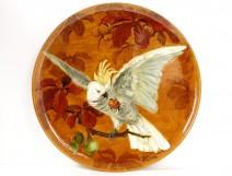 Large ceramic dish enamelled Almaric Walter Massier parrot 60cm twentieth
