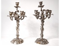 Pair large candelabra candlesticks 5 fires bronze Rococo Louis XV nineteenth