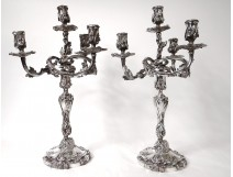 Pair candelabra candlesticks 4 lights Louis XV bronze silver flowers nineteenth